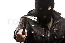 Robber with crowbar
