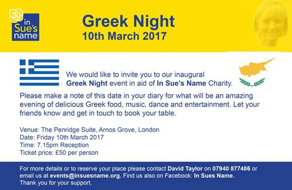 In Sue's Name Greek Night