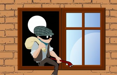 Cartoon Robber Climbing out of a window